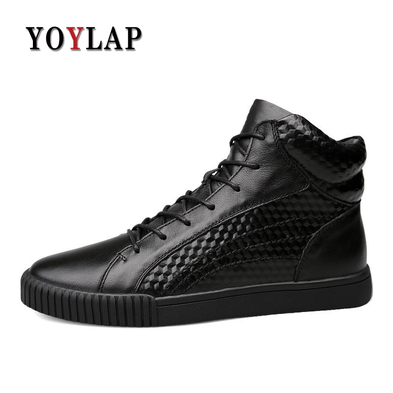 2018 Warm Plush Winter Shoes Men Ankle Waterproofs High Top Lace-up Black Men Casual Shoes Autumn 100% Genuine Leather Men Shoes plus size 46 mens casual high top shoes winter warm plush ankle boots men shoes outdoor fashion cotton shoes mountain zapatos