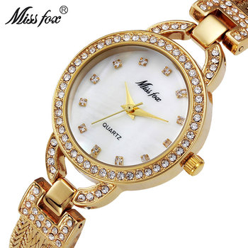 002599f56673 Missfox Miss Fox marca moda mujer relojes 2018 oro cuarzo señora reloj de  plata reloj de lujo mujeres reloj impermeable wowan