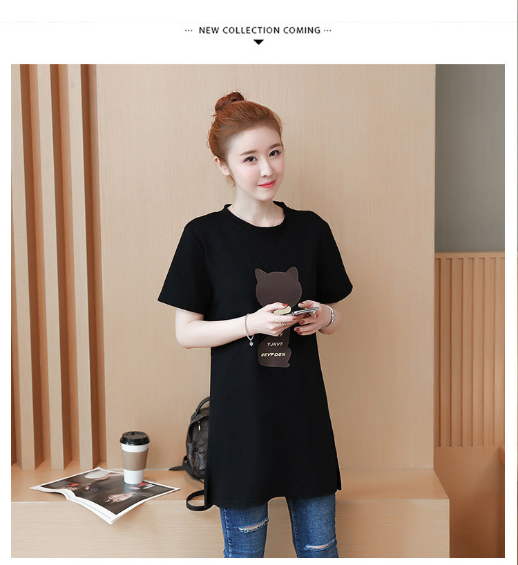 2018 Large size Women T-shirt dress summer Short sleeve Cats print Top Tees Casual O-neck Loose Female Tshirt Plus size 5XL J215 21