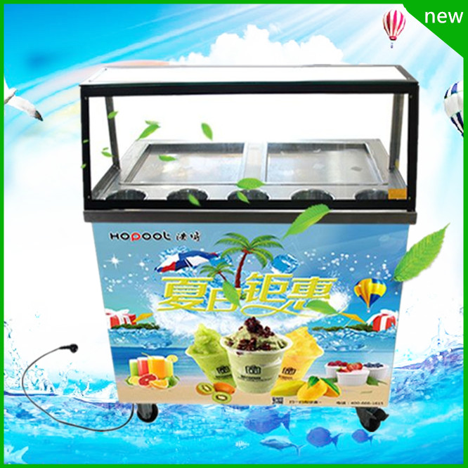 free ship CE R410 R404 fry ice cream machine fried ice roll pan machine flat pan double pan rolled fried ice cream rolls machine shentop stfx cb25 double pan ice cream rolls machines new style fried roll ice cream machine