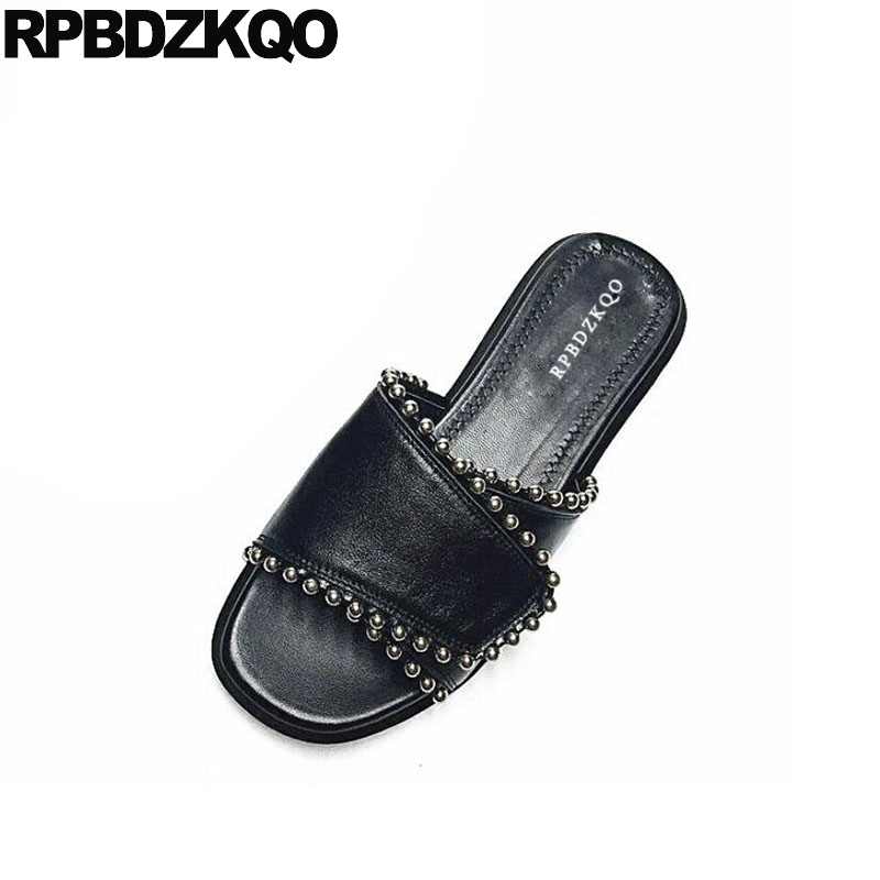 Фото Genuine Leather Stud Slides Ladies Korean 2018 Large Size Rivet Designer Black Summer Shoes Women Sandals Flat Casual Slip On