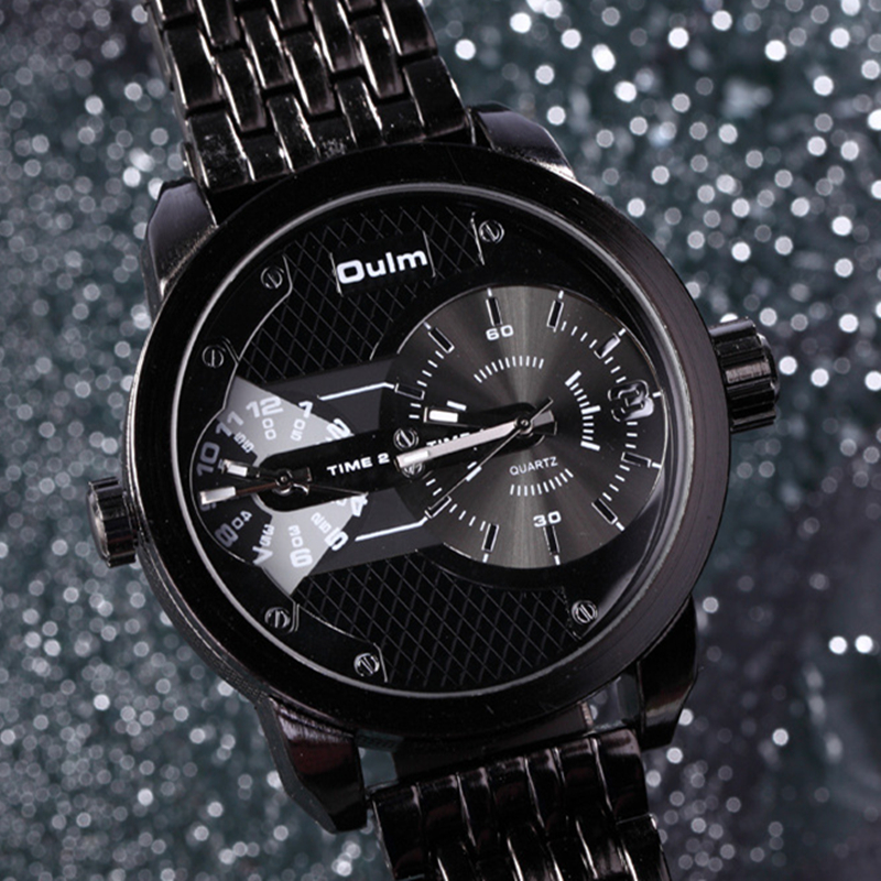 Oulm Brand Mens Luxury Full Steel Alloy Army Quartz Watch 2 Time Zone Fashion Black Business Military Wristwatches With Gift Box oulm brand mens leather band japan movt quartz watch dual time zone fashion hit color wristwatches with gift box relogio releges
