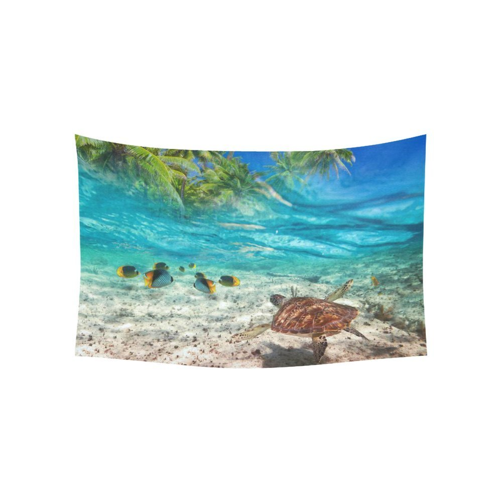 Underwater Animals Wall Art Home Decor, Green Turtle at Tropical Island of Caribbean Sea Tapestry Wall Hanging Art