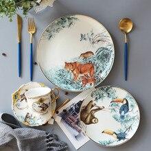 Керамические фантастические джунгли круглые тарелки посуда костяного фарфора животное фруктовый десерт блюдо для закусок домашнее украшение для столовой посуды