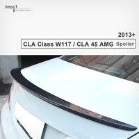 Mercedes cla класс W117 cla45 AMG взгляд блеск черный Подлинная углеродного Волокно задний спойлер багажника для cla200 2013 2014 2015 2016