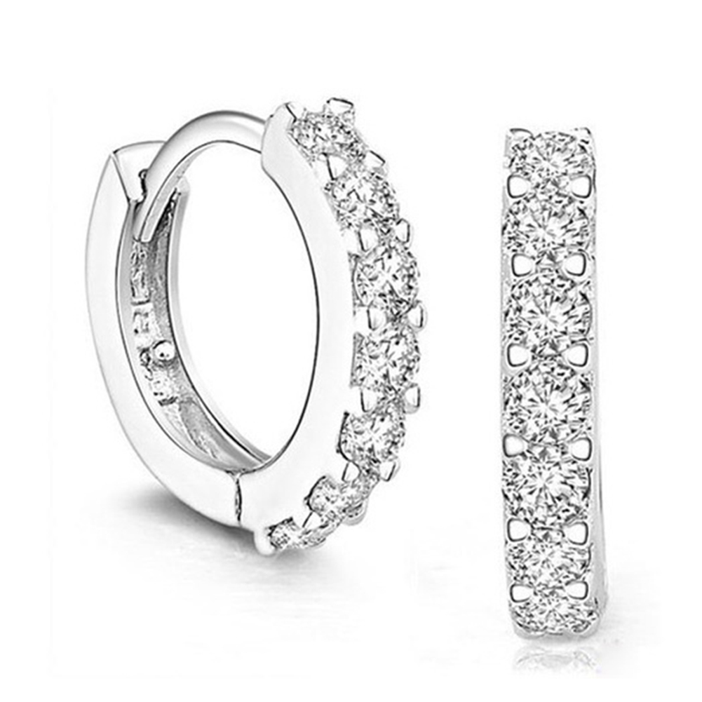 Elegant Silver Plated Zircon Jewelery Zirconia Circle Hoop Earrings for Women