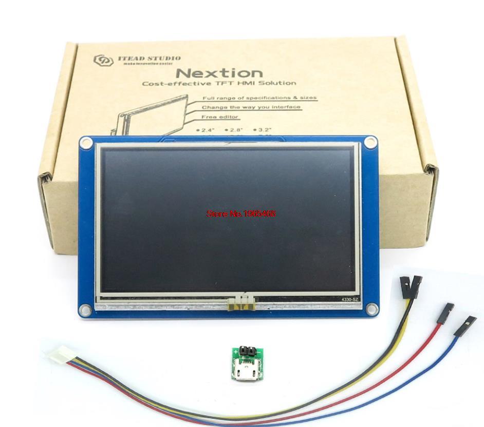 Nextion 4.3 HMI Intelligent Intelligent USART UART série tactile TFT LCD panneau Module daffichage pour framboise Pi 2 A + B + ARD Kits