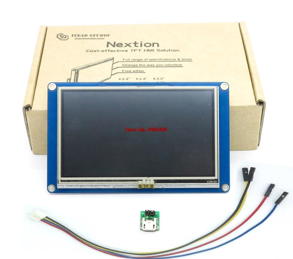 Nextion 4.3 HMI inteligentny inteligentny USART UART szeregowy dotykowy moduł panelu wyświetlacza LCD dla zestawów Raspberry Pi 2 A + B + ARD