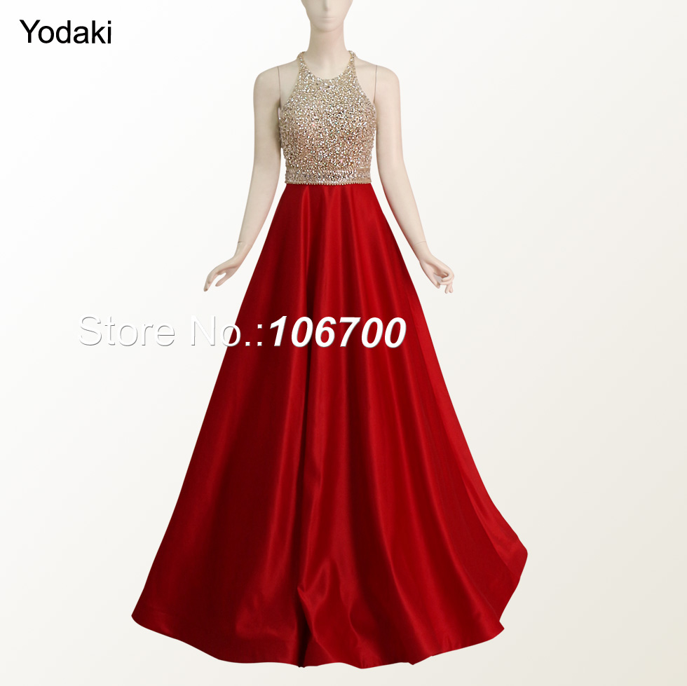 Real Photos Hand Make Crystal Beading Ballgown Prom Dresses Halter ...
