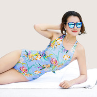 July Sand New Sexy Women One Piece Swimsuit With Big Floral Print