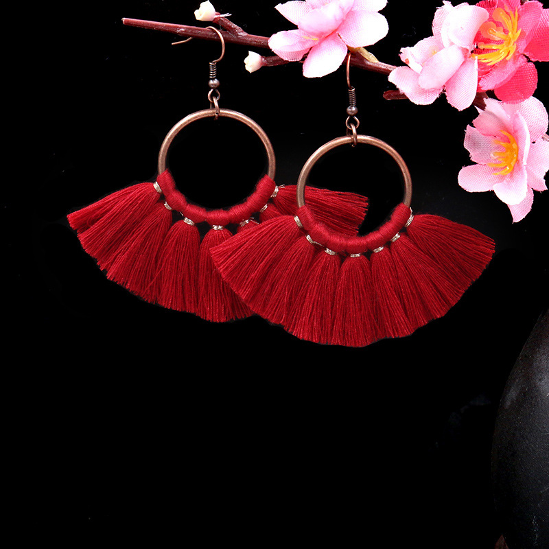 Exknl Long Vintage Fringed Drop Tassel Earrings Women Bohemian Round Big Earrings Ethnic Party Dangle Earrings Fashion Jewelry 9
