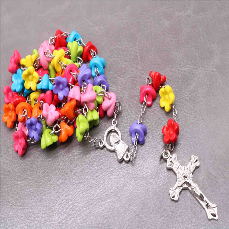 New glamour soft clay rose rosary crystal cross necklace Catholic Rosary Cross Necklace Cross Religious Pendant Necklace in Pendant Necklaces from Jewelry Accessories