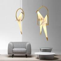 Modern Origami Crane Bird Pendant Light Nordic Style Creative Design Personality Lamp Hanging Hotel Hall Parlor Bedroom Bar EMS