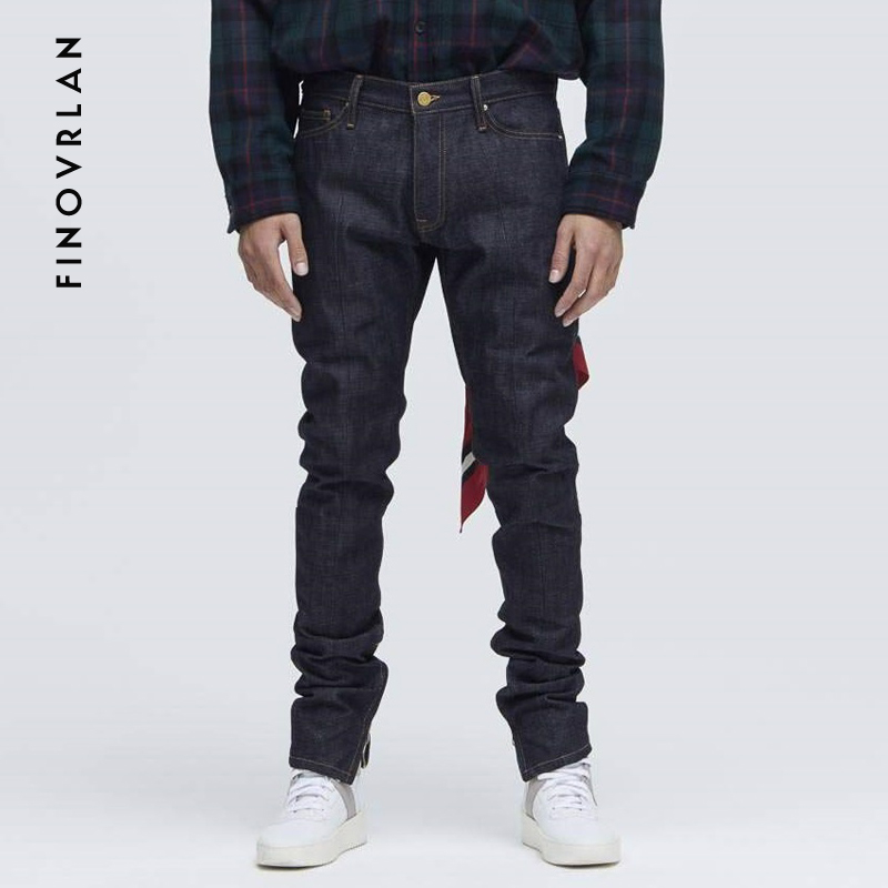 2018 Kanye West Blue Jeans Slim Fit Skinny Jeans For Men Streetwear Hio Hop Ankle Zipper Tight Cut Closely To Body Stretch Jeans