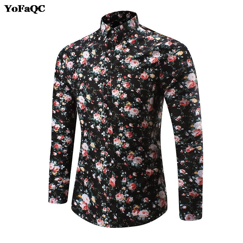 YoFaQC 2017 New Men Shirt M-5XL Long Sleeve Fashion Floral Printing Male Shirts Brand Clothing Casual shirt Man camisa masculina ...