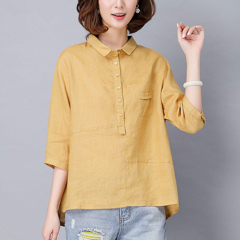 New Arrival Summer Style Women Shirts Plus Size Loose Half Sleeve Casual Shirts Cotton Linen Blouses Solid Female Tops D141