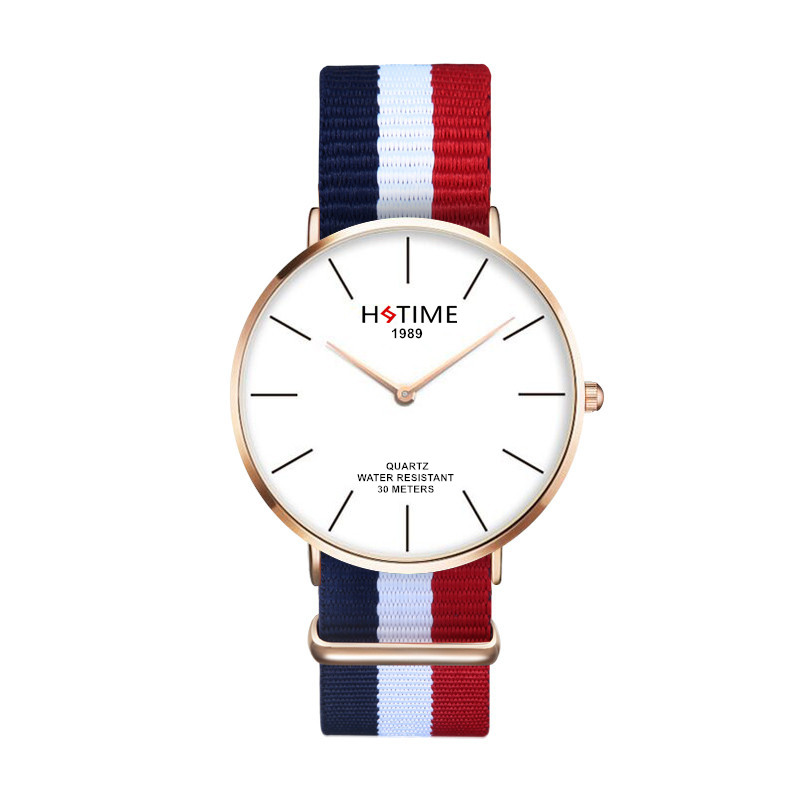 fashion casual Luxury Brand Rose Gold Silver Men Women Watches Leather Nylon Quartz Wrist Watch Unisex