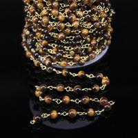 5Meters,6mm Smooth Natural Tiger eye Round Beaded Chains,Bronze Brass Wire Wrapped Link Chains,Bracelet Jewelry Supplies