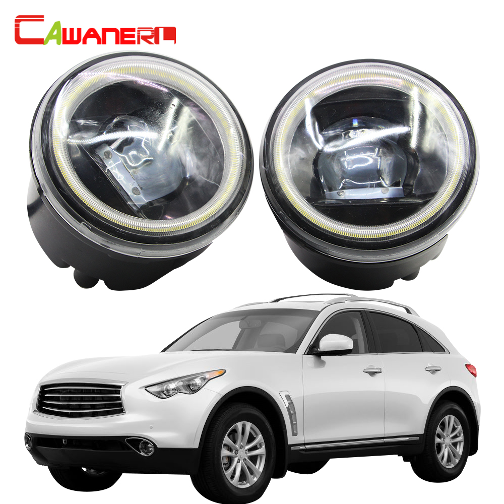 Cawanerl Car Styling 4000LM H11 LED Bulb Fog Light Kit Angel Eye DRL 12V For Infiniti
