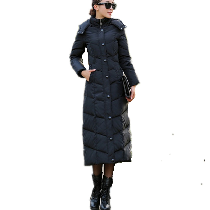 Winter Jacket Women Casual Long Hooded   Parka   Coat Thick Single-Breasted Plus Size Jacket Elegant Slim Ladies Wadded Jacket Q468