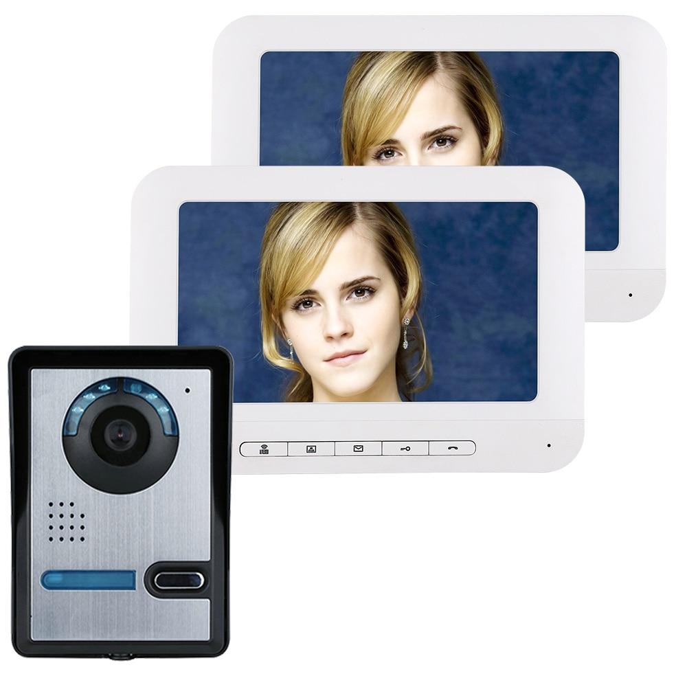 7 Inch TFT 2 Monitors Video Door Phone Doorbell Intercom Kit 1-camera 2-monitor Night Vision With HD IR-CUT HD 700TVL Camera