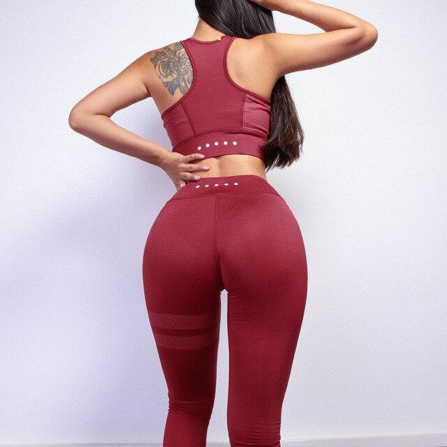 2018 Pure Color White Dot Printing Round Collar Vest+Long Pants Exercise Women Tracksuit Two-Piece Sets Seven Colors Women Suits 3