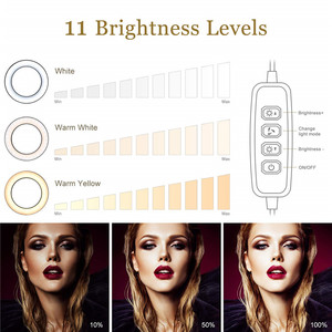 Image 4 - 9 אינץ טבעת אור חצובה Stand עבור Selfie תמונות YouTube קטעי וידאו איפור LED טבעת אור 10 בהירות רמות 3 תאורה מצבים