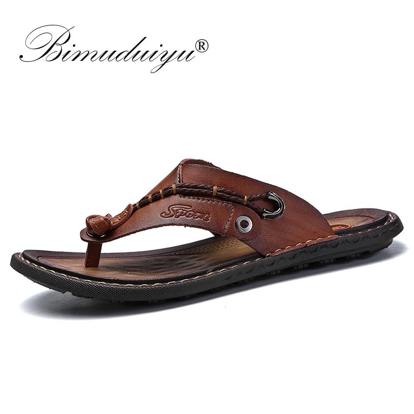 BIMUDUIYU Brand Summer New Arrival Summer Cool Men Flip Flops Rubber Soft Beach Shoes Non-slide Men's Slippers Massage Footwear