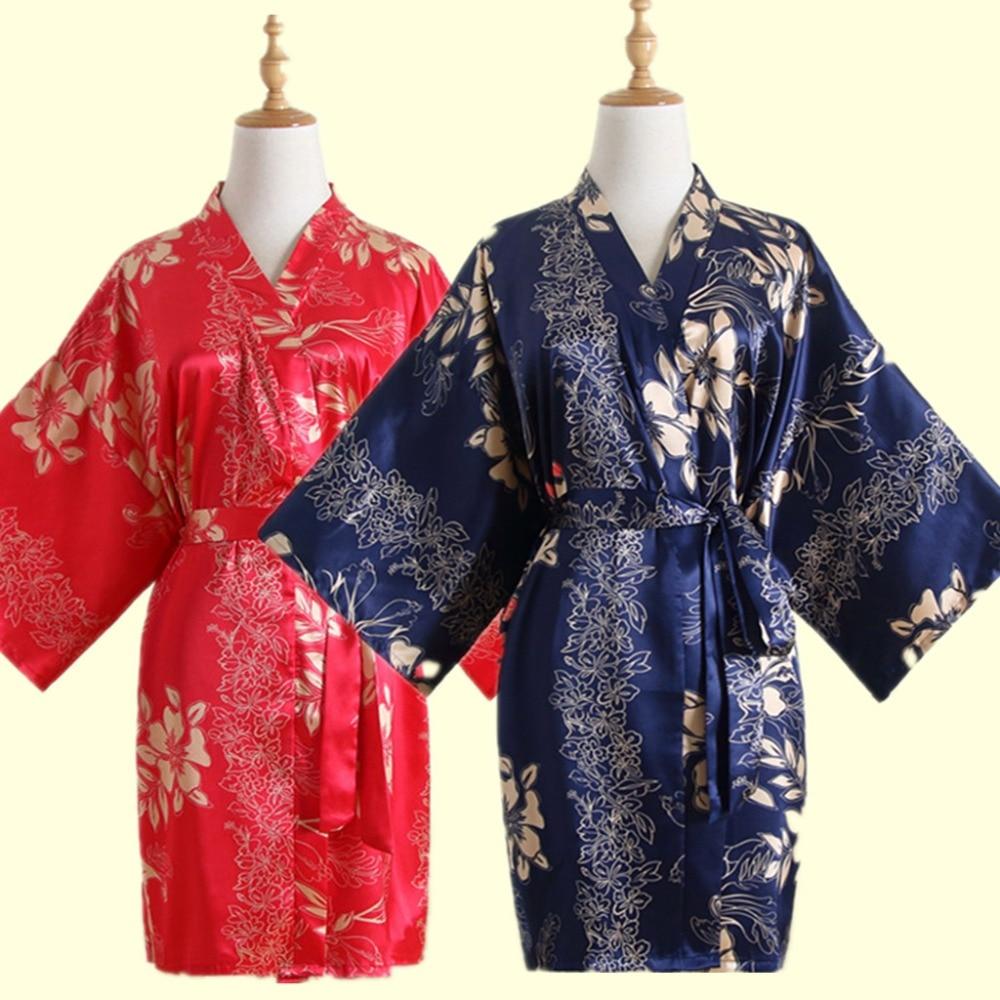 Шелковый Атласный Свадебный халат Невеста и жених цветочный Короткое Кимоно