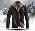 HOT!!! dos homens livres do transporte Marca de luxo pele de couro de ovelha casaco De Pele muito quente no Inverno jaqueta de Couro dos homens, M-4XL
