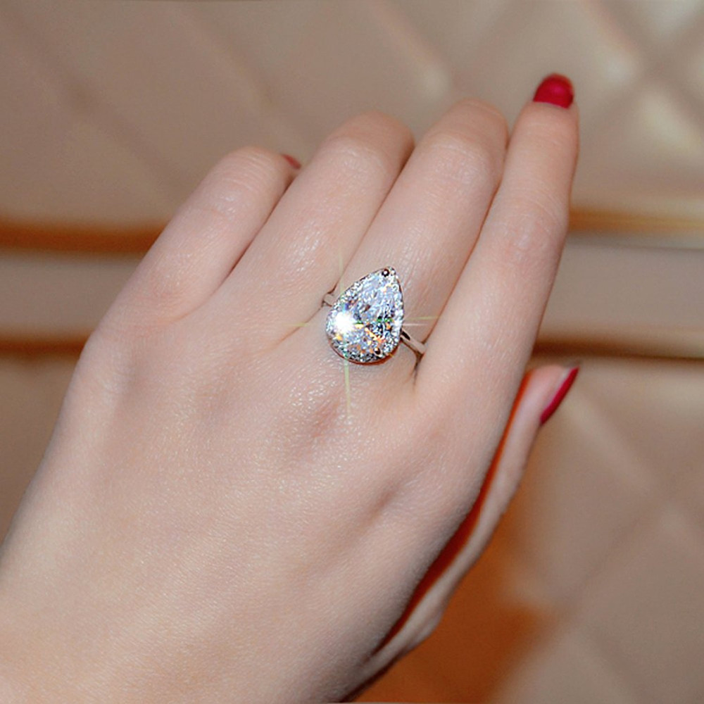 Aliexpress.com : Buy AINUOSHI Teardrop Halo Pear Cut 4 Carats Rings ...