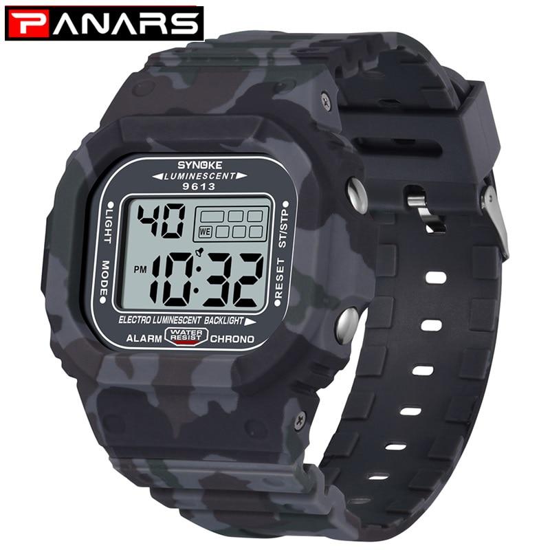 PANARS Men Watch Outdoor Sport 3Bar Waterproof Watches Alarm Clock Week Display Military Fashion Digital Watch Reloj Hombre