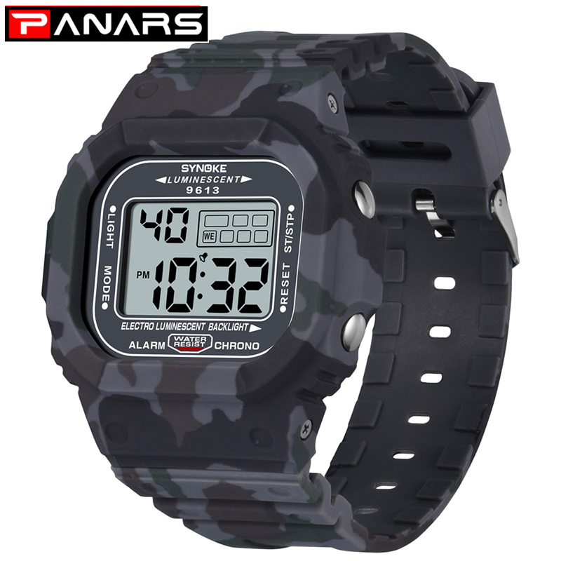 SYNOKE Men Watch Outdoor Sport 3Bar Waterproof Watches Alarm Clock Week Display Military Fashion Digital Watch reloj hombre