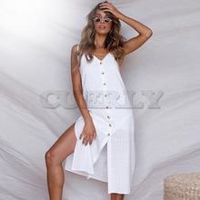 Cuerly Summer Women Dress 2019 Vintage Sexy Bohemian Solid Strap Beach Sundress White Split Button Female L8
