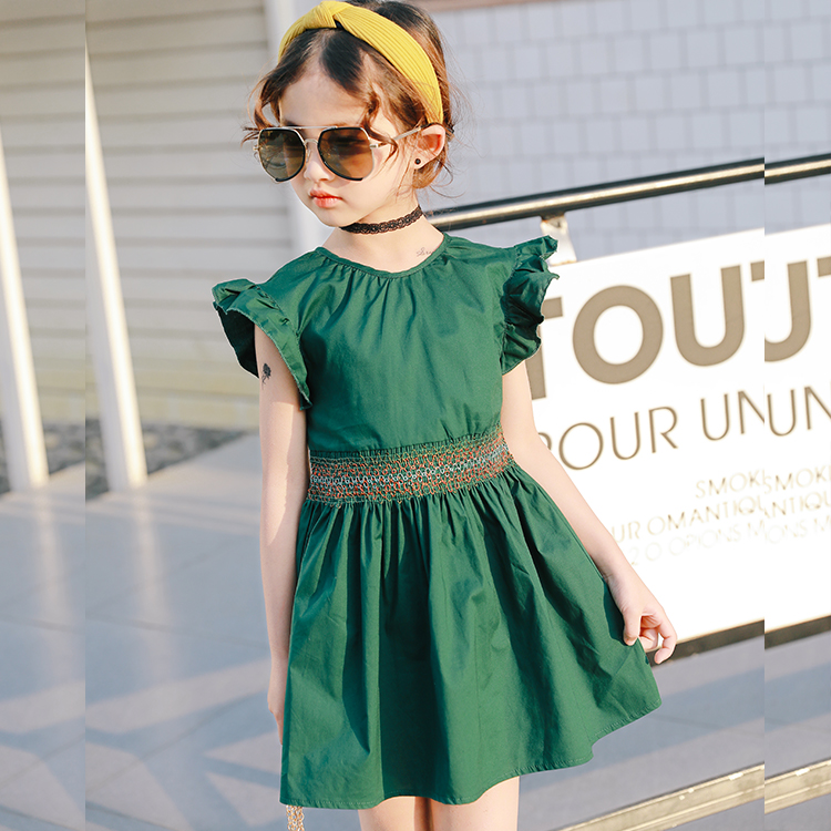Casual baby Girls Dress flare Sleeve tutu dress vintage green color  toddler kids clothing summer 2t-6