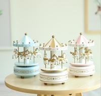 Ronde Muzikale carrousel paard houten carrousel muziekdoos speelgoed kind spel Interieur Kerst Verjaardagscadeau Mix ontwerp