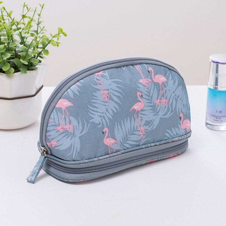 2019 Neue Tragbare Flamingo Kosmetik Tasche Double Layer Reise Make-up Tasche Taschen Rund Machen Up Tasche Pinsel Organizer Für Frau Attraktives Aussehen