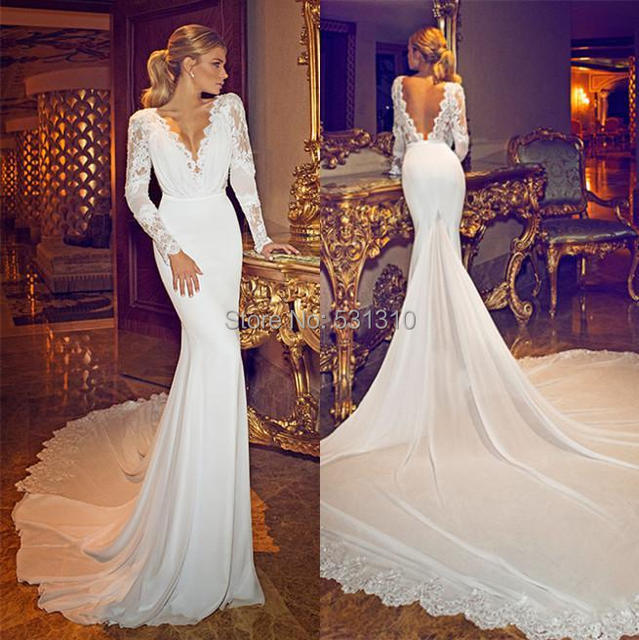 Dimitrius Dalia Newest Sexy Lace Wedding Dresses Stain Deep V Neck