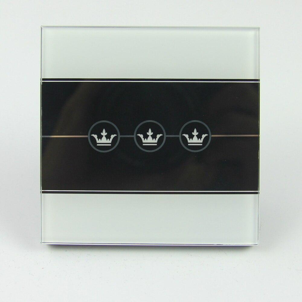 Maison intelligente 16A UE Standard De Luxe En Verre Trempé Panneau Mur  Tactile Interrupteur, 3 Gang 1 Way, Interrupteur de lumière, 5 couleurs, ... e983f709314d