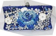 Blau strass handtasche pfau abendtaschen prom kupplung mode zeigen schulter kristall tasche