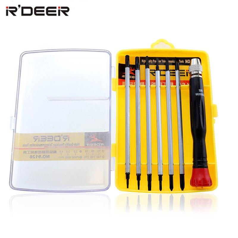 Набор отверток RDEER, магнитные, хром-ванадиевые, с шлицевыми наконечниками Torx, многофункциональные инструменты для ремонта электроники, 7 в 1