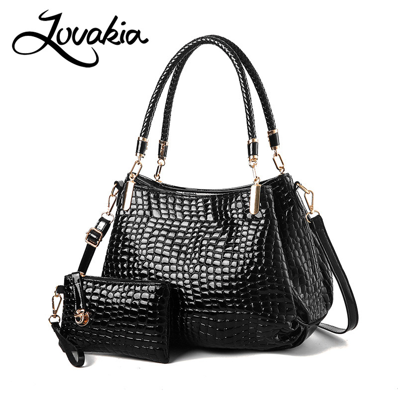 LOVAKIA Fashion PU Leather Women Crocodile Pattern Messenger bags Two Set Purse and Handbags Tote Sac A Main Shoulder Bags hongu high grade leather handbags crocodile pattern large ladies hand bags luxury purse with shoulder strap sac a main femme