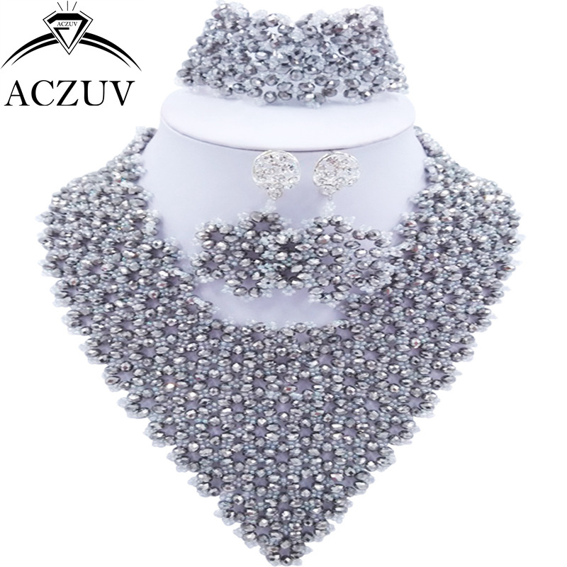ACZUV Brand African Weddig Engagement Jewelry Set African Beads Necklace and Earrings Bracelet AJ015ACZUV Brand African Weddig Engagement Jewelry Set African Beads Necklace and Earrings Bracelet AJ015