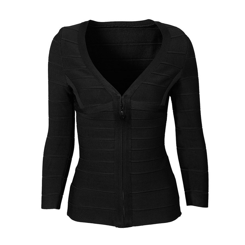 Top Quality Hot Front Zipper Black Long Sleeve V Neck Bandage Coat Celebrity Hot Club Party