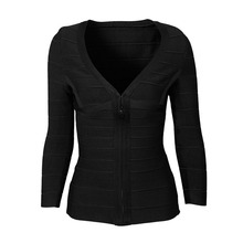 Top Quality Hot Front Zipper Black Long Sleeve V-Neck Bandage Coat Celebrity Hot Club Party Top Clothes