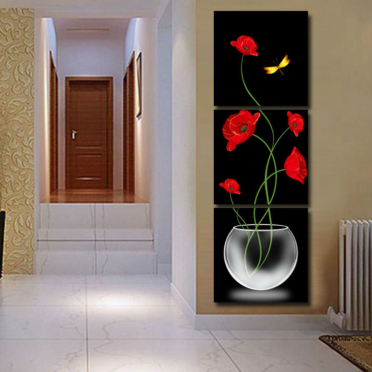 3 Panels Painting Wall Hanging Canvas Picture Paint Modern living room Decorative red flower Home Decor vertical painting T/1052