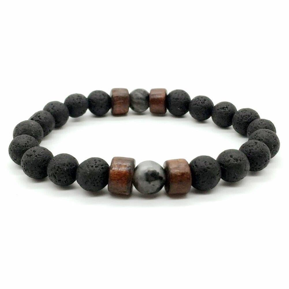 Men Women 8mm Natural Stone Beads Bracelet Elastic Bracelets Jewelry Gifts LXH