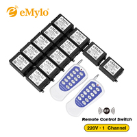 AC 220V 1000W One Transmitter 12X 1 Channel Relays Learning Smart Wireless Remote Control Switch White