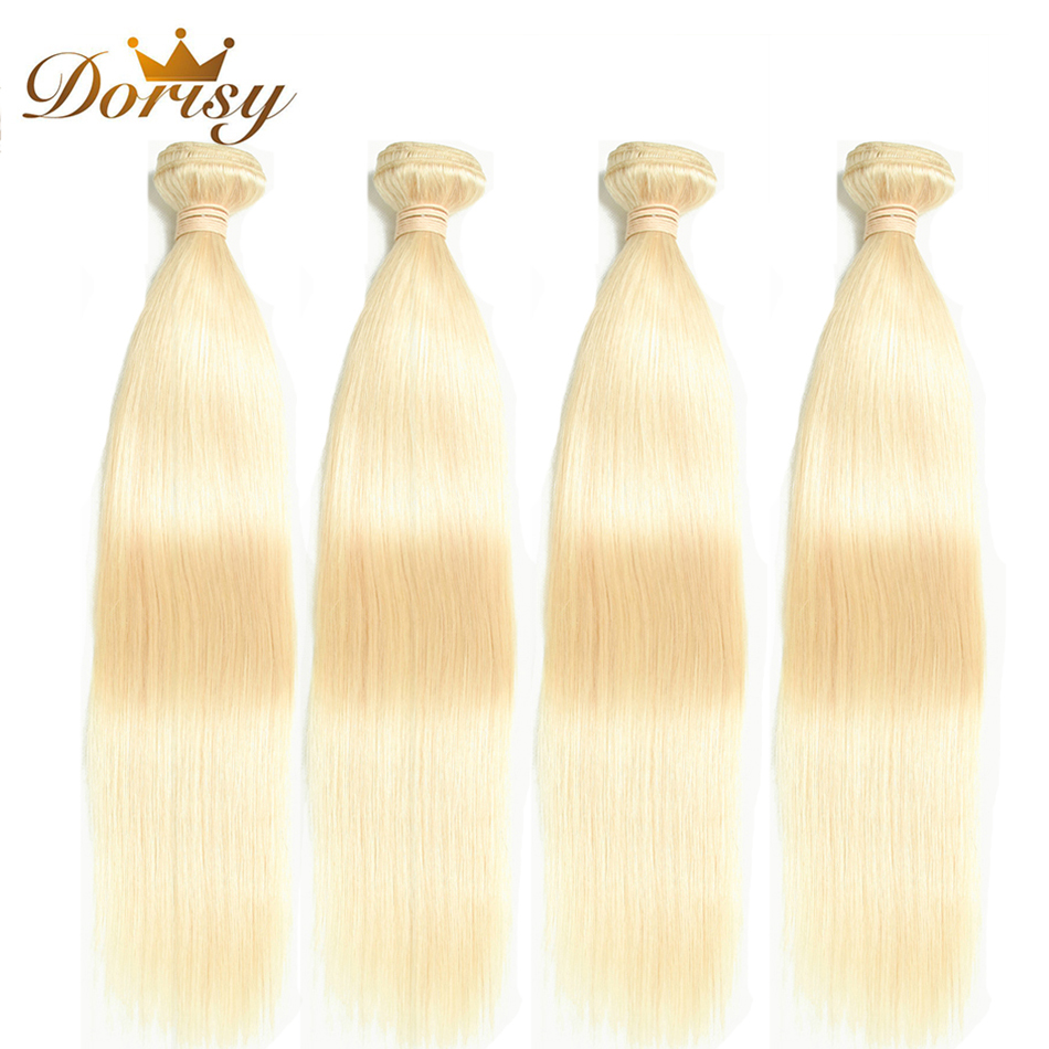 Dorisy Hair Mongolian Straight Hair Bundles 613 Blonde Human Hair Weaving 4 Bundles 10-24 Inches Remy Hair Extensions No Smell