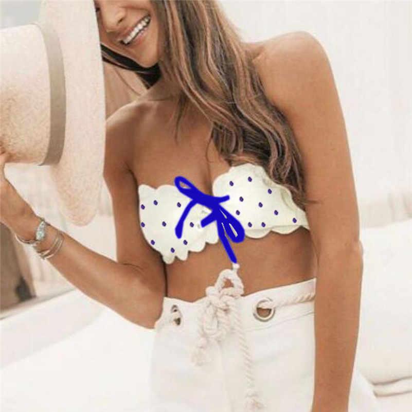 Wanita Pakaian Renang Bikini 2019 Baju Renang Seksi Polka Dot Cetak Bikini Set Dasi High Waist Bikini Split Swimsuit biquini 4as